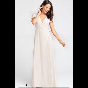 Show Me The Ring Crisp Noelle Wrap Dress - Blush